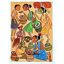 Tribal Life in India - Kalighat Painting