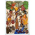 Tribal Family - Kalighat Painting