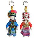 Set of 2 Russian Costume Doll Key Rings