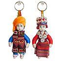 Set of 2 European Costume Doll Key Rings