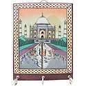 Gemstone Crush Tajmahal on Wooden Key Rack with Three Hooks - Wall Hanging