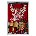Bengal Ethnic Dress - Embroidered Red Kurta, Beige Dhoti with Golden Shoe