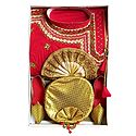 Bengal Ethnic Dress - Embroidered Red Kurta with Beige Dhoti and Golden Shoe