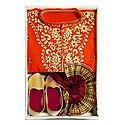 Embroidered Dark Saffron Cotton Kurta, Ready to Wear Maroon Dhoti, Golden Pagri and Shoe