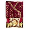Bengal Ethnic Dress - Embroidered Maroon Kurta with Beige Dhoti and Golden Shoe