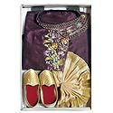 Bengal Ethnic Dress - Embroidered Purple Kurta with Beige Dhoti and Golden Shoe