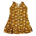 Printed Yellow Cotton Sleeveless Frock for Girls