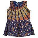 Multicolor Flower and Fan Print on Dark Blue Cotton Frock