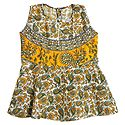 Green and Yellow Flower Print on White Cotton Frock