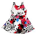 Printed White Sleeveless Frock for Girls
