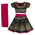 Multicolor Embroidery on Black Ghagra Choli and Red Chunni