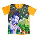 Printed  Krishna on Yellow T-Shirt for Young Boy