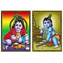 Makhan Chor Krishna - Set of 2 Posters