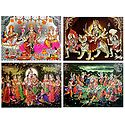 Hindu Deities - Set of 4 Glitter Posters