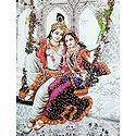 Radha Krishna on Swing - Glitter Poster
