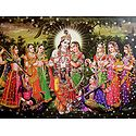 Radha Krishna with Gopinis - Glitter Poster