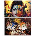 Radha Krishna, Shiva - Set of 2 Posters