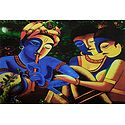 Krishna Playing Flute with Radha and Gopini