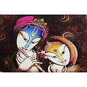 Radha Enjoying Sound of Krishna's Flute