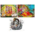 Vishnu, Lakshmi, Saraswati, Ganesha, Radha Krishna and Krishna - Set of 3 Posters