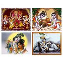 Set of 4 Radha Krishna, Bal Gopal and Bhagawati Posters