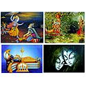 Radha Krishna, Krishna, Bhishma and Padmanavaswamy - Set of 4 Posters