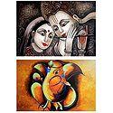 Radha Krishna and Ganesha - Set of 2 Posters