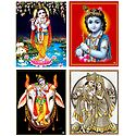 Radha Krishna and Krishna - Set of 4 Posters