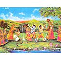 Playfully Mischeivious Krishna and Balaram with Gopinis