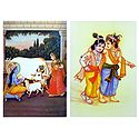 Krishna with Yashoda and Krishna Balaram - Set of 2 Posters