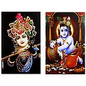 Murlidhar Krishna and Makhan Chor Krishna - Set of 2 Posters