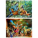 Krishna Preaches the Gita to Arjuna and Radha Krishna - Set of 2 Posters