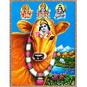 Krishna on Cow with Brahma, Vishnu, Shiva