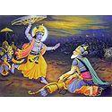 Krishna Lifts the Wheel of the Chariot to Kill Pitamaha Bhishma During Kurukshetra War