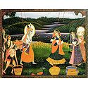 Radha Krishna Playing the Festival of Color Holi with Gopi and Gopinis