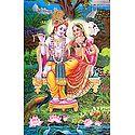 Radha Krishna Sitting on a Throne