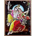 Radha Krishna on Swing - Glitter Poster