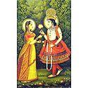 Krishna Offering Flower to Radha