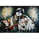 Krishna Enjoying the Music of Radha's Flute