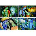 Animal Lover Krishna and Radha Krishna - Set of 4 Posters