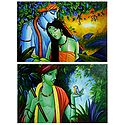 Animal Lover Krishna and Radha Krishna - Set of 24 Posters