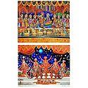Radha Krishna with Eight Gopinis - Set of 2 Photo Print