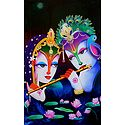 Radha Mesmerised by the Sound of Krishna's Flute - Hindu Poster