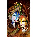 Radha Learning Flute from Krishna - Poster