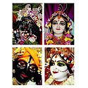Set of 4 Radha Krishna Photo Print