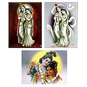 Set of 3 Radha Krishna Posters