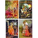 Radha Krishna and Murlidhar Krishna - Set of 4 Posters