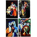 Radha Krishna and Krishna Meerabai - Set of 4 Posters