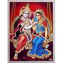 Krishna Admiring Radha's Beauty - Unframed Glitter Poster