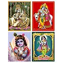 Set of 4 Krishna Posters